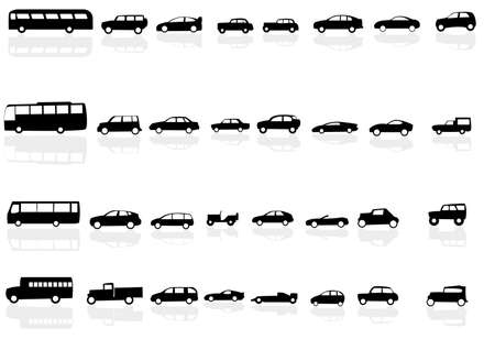 Vector set of silhouettes of cars with reflections