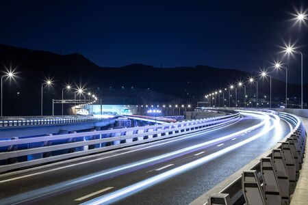 Photo for Night view of bridge highway in Dalian, China - Royalty Free Image