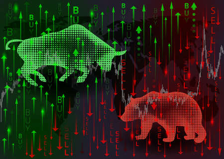 Illustration pour Green bull and red bear.The concept of stock market trading. - image libre de droit