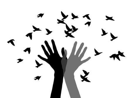 Illustration pour silhouette of two hands and the birds - image libre de droit