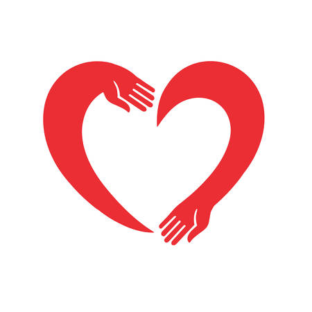 Illustration for Vector image of the heart of the two hands - Royalty Free Image