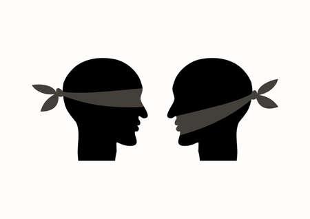 Illustration pour Mouth tied, blindfolded. - image libre de droit