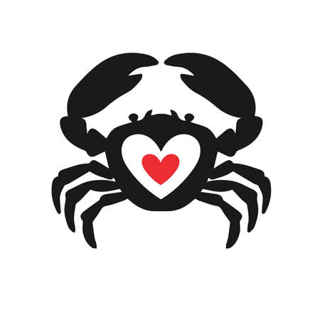 Photo pour Crab heart idea logotype. Seafood love creative icon logo symbol. - image libre de droit