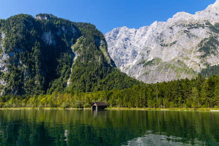 Alpine mountain lake Obersee in Summer, Konigsee National Park, Bayern, Germany
