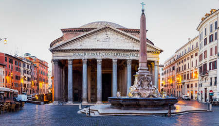 Pantheon, former Roman temple of all gods, now a church, and Fountain with obelisk at Piazza della Rotonda. Rome, Italy