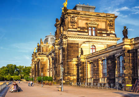 Dresden panorama with Bruhl Terrace (so called Balcony of Europe), the Church of Our Lady and the Elbe, Dresden, Saxony, Germany