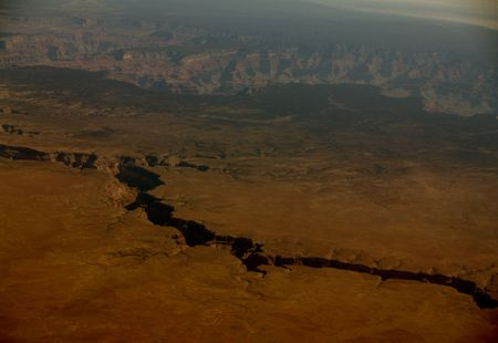 This is towards the start of the grand canyon from 32 000 feet. Amazing image. this dark crack is very deep.