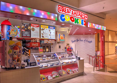Springfield, Missouri - March 22, 2019: Great American Cookies is a chain of franchised stores that specialize in gourmet cookies and cookie cakes, found mostly in shopping malls and headquartered in Atlanta.  Editorial.