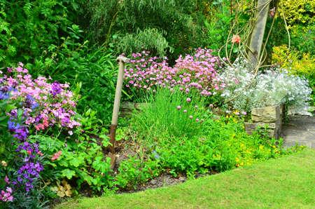 English country garden flower borders