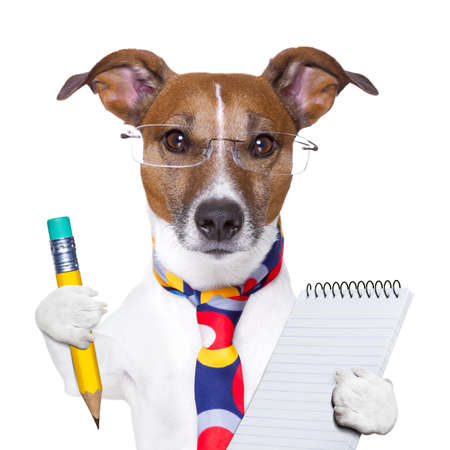 Photo for accountant dog with pencil and notepad - Royalty Free Image