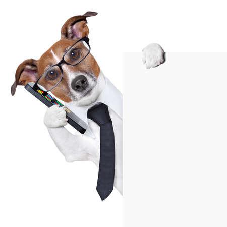 Photo pour smartphone dog behind a blank page listening - image libre de droit