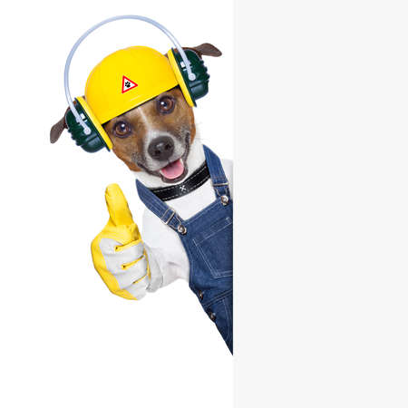 Photo pour funny under construction dog with thumb up behind a placard - image libre de droit