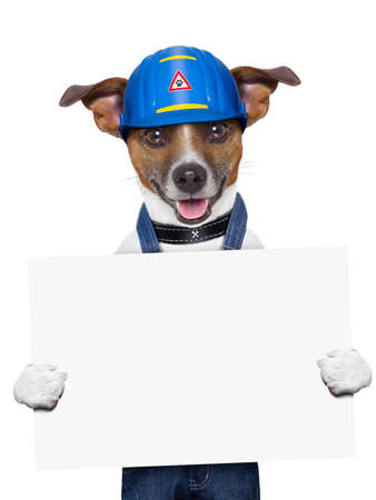 craftsman dog holding a placard with paws