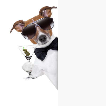 Photo pour dog toasting with martini glass behind a blank placard banner - image libre de droit