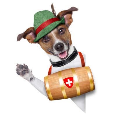 swiss rescue dog with a barrel and paws up behind banner