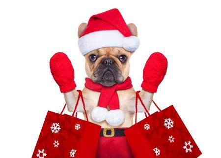 Foto de santa claus christmas dog  isolated on white background, waving hands, and shopping on sale - Imagen libre de derechos
