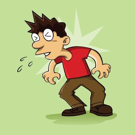 An image of man sneezing