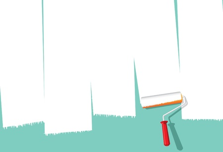 Illustration for Image of paint roller painting over wall to make space for copy - Royalty Free Image