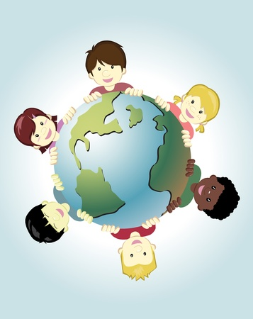 Image of children around the world holding the earth as symbol of peace