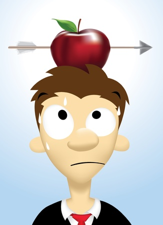 Image of person who take high risks with apple put on his head and shot by an arrow