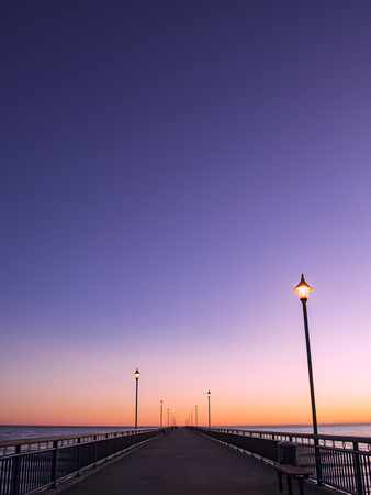 New Brighton Pier Christchurch New Zealand at Dawn with Lights Perspective to Vanishing Point