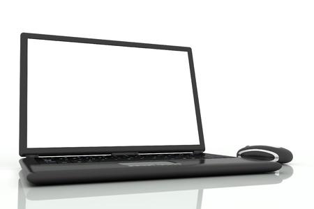 Photo pour black laptop and mouse isolated on white background - image libre de droit