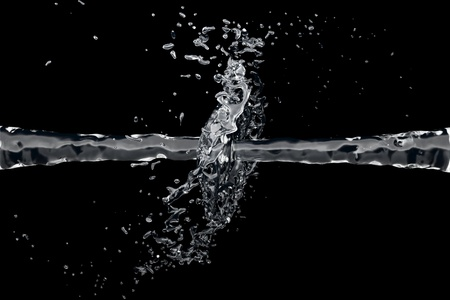 Two clean water jet collide on a black background