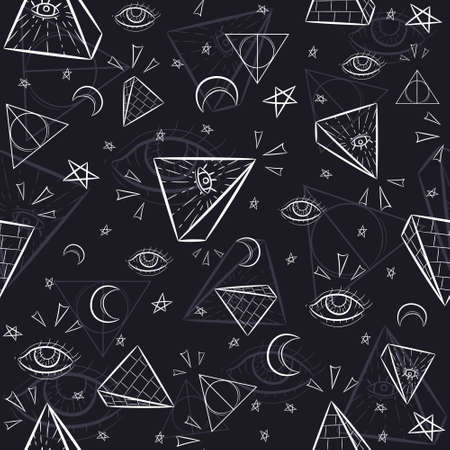 Illustration pour Seamless pattern with illuminati and occult symbols. Repetitive background with pyramids, triangles, the eye of God and celestial objects. - image libre de droit