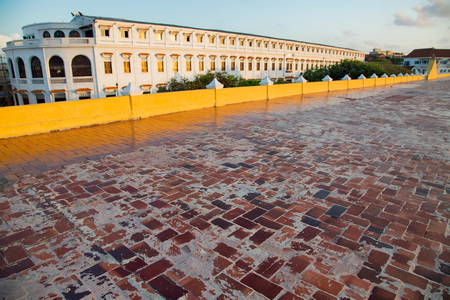 View of the red bricks that form the floor of the colonial era wall in Cartagena, Colombia.