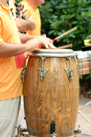 Close up of drummer beating on a drum