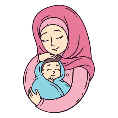 Illustration for Muslim mother holding baby. The best mom. A pretty mother holds cute baby. Vector illustration isolated on white background. - Royalty Free Image