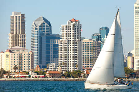 Downtown San Diego and Sail Boat, Southern California USA