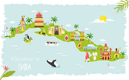 Illustration pour Bright illustrated map of Cuba with symbols, icons, famous destinations, attractions. For travel guides, banners, posters - image libre de droit