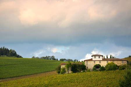 Vineyards and Famrhouse in Chianti. Tuscany, Italy.