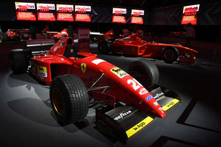 Photo for Mugello Circuit, 25 October 2019: F1 Ferrari 412 T2 of 1995 ex Jean alesi and Gerhard Berger on display during the Finali Mondiali Ferrari 2019 at the Mugello Circuit in Italy. - Royalty Free Image