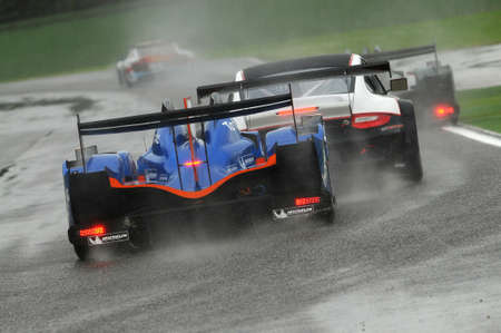 Imola, Italy May 17, 2013: Alpine - Nissan of Signatech Alpine Team, driven by P. RAGUES / N. PANCIATICI, in action during the European Le Mans Series - 3 Hours Imola, Italy