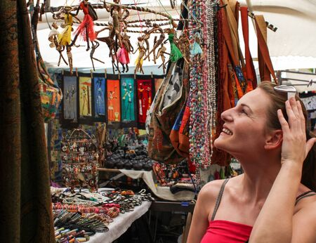Woman shopping at greenmarket square in cape town