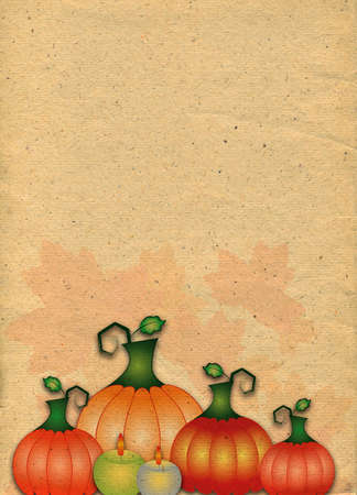 Abstract stylized paper backdrop with pumpkins. Raster illustrationの写真素材