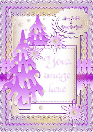 Holiday card with snow lawn in mauve colors in scrapbooking style for greeting with Christmas and New Year. Vertical version. Vector illustration