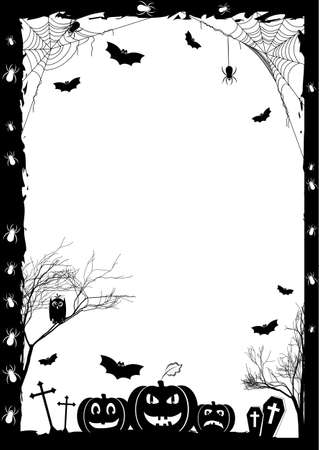Illustration pour Holiday card on theme of Halloween. Black frame with pumpkins, bats and spiders on gossamers at cemetery on white. Trick or treat. Vector illustration - image libre de droit