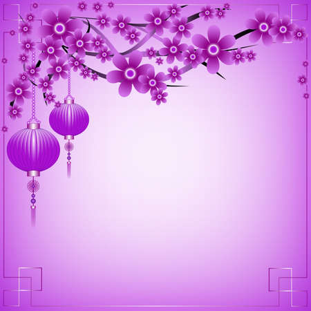 Greeting postcard to Chinese New Year. Branch of sakura with sky lanterns on violet background. Vector illustration