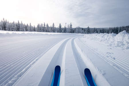 Photo pour Winter landscape with cross country skiing trails, Jeseniky mountains, Czech Republic - image libre de droit