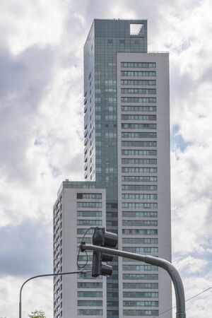 Low angle view of modern tall building located in Buenos Aires, Argentina.