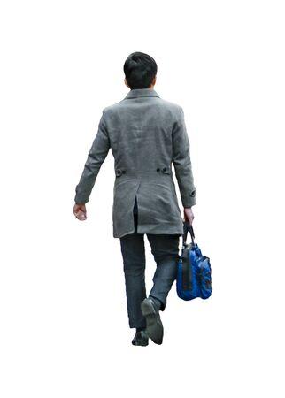 Photo pour Back view shot executive man carrying briefcase walking isolated photo - image libre de droit