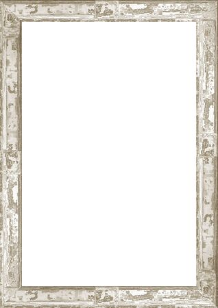 Photo pour White frame background with decorated design wooden cracked borders. - image libre de droit