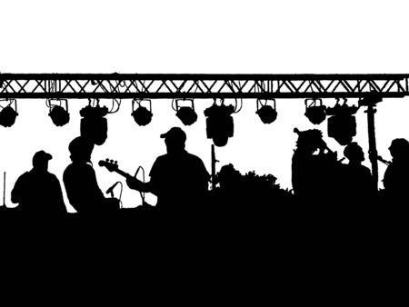 Photo pour Music band playing black graphic silhouette isolated on white background - image libre de droit