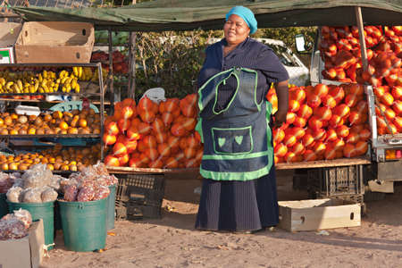 Mid age African sales woman from Mochudi village, Botswana