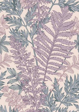Illustration pour Vertical seamless pattern with leaves and plants. Vector botanical illustration. Lilac, blue, pink. - image libre de droit
