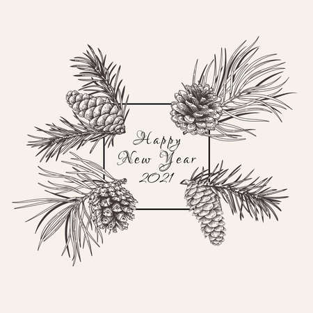 Illustration pour Christmas square frame with fir and pine branches and cones. Vector botanical illustration. Black and white. - image libre de droit