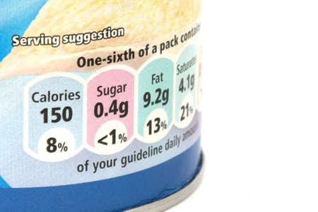 Close up view of nutrition label on food can